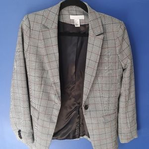 Plaid and Grey Colored Blazer by H&M